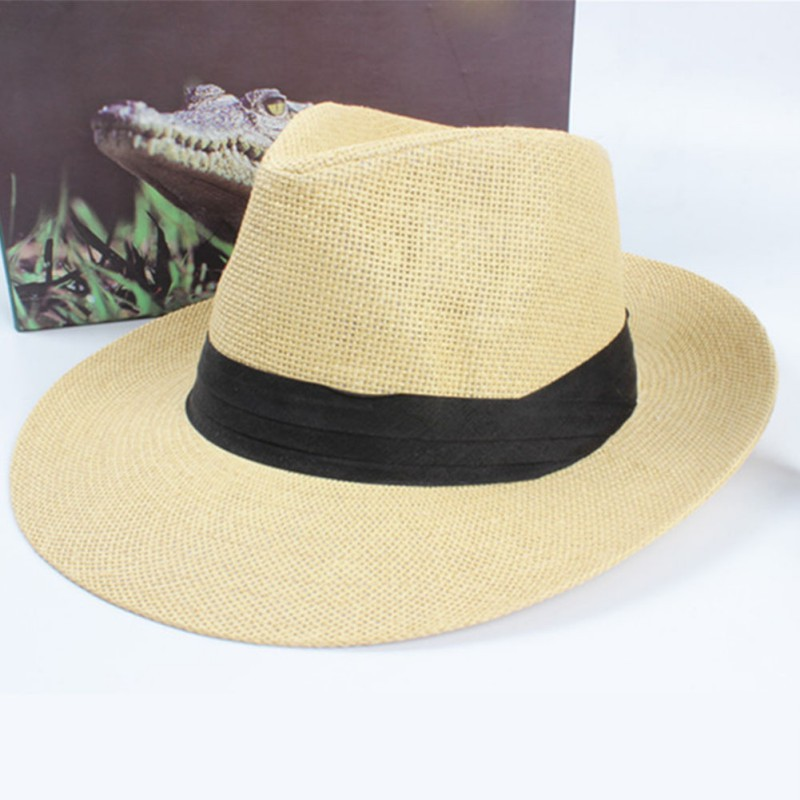 Women's Summer Beach Trilby Straw  Wide Brim Beach Cap Sun Hat H7