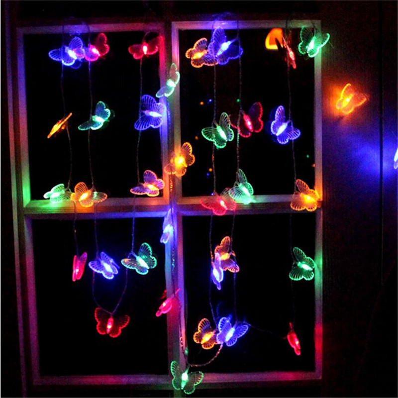 4M 20LEDs Butterfly String Light Multi Colors Led Lamp Outdoor Decorative Lighting for Halloween Garden Party Christmas 110/220V