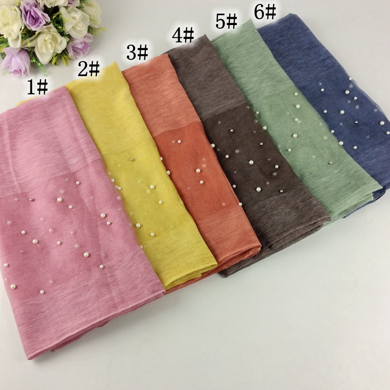 2017 Luxury Plain Wool Shawls With Pearls And Silk Cotton Women Long Scarves Muslim Hijab Wraps 10pcs /lot