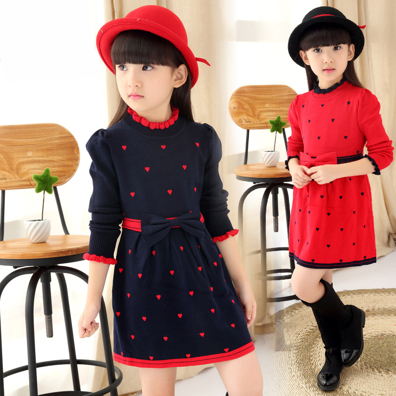 High quality 2018 New Autunm Girl's Slim wool knit dress girls round neck hedging sweater Kids long sleeve Princess wool dress geometric spliced print round neck long sleeve sweater