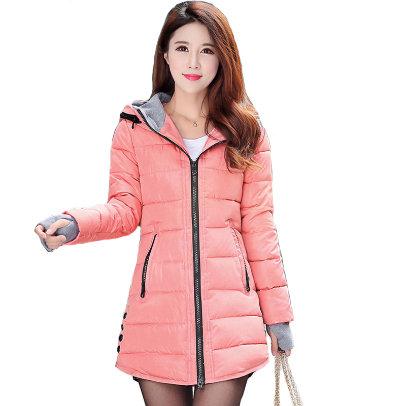 2018 las mujeres de invierno cálido con capucha abrigo tamaño de color caramelo de algodón acolchado chaqueta mujer parka larga Mujer wadded chaqueta feminina