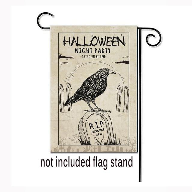 Kustom Halloween Malam Pesta Dekoratif Bendera Taman Burung Makam