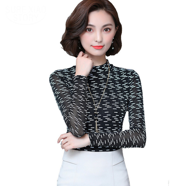 2017 New Autumn And Winter Women Blouse Flower Stand Long Sleeve Work Shirt Women Office Tops Blouse For Business Plus Size 5xl