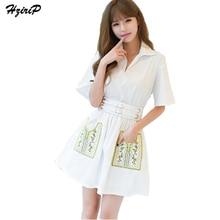 Women Fashion Dresses 2017 Summer Polo Collar Packet Embroidery Elegant Dress White Receive Waist Temperament Vestido De Festa
