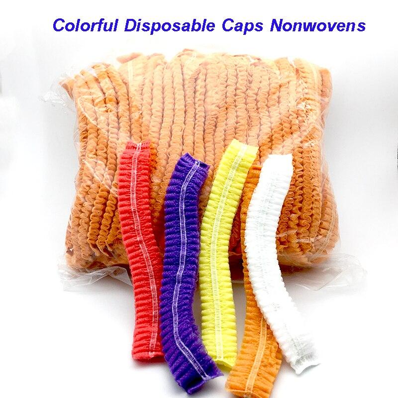 20PCS Disposable Hair Shower Cap Non Woven Pleated Anti Dust Hat Hotel Salon Supplies Set Non-woven Bouffant Shower Caps