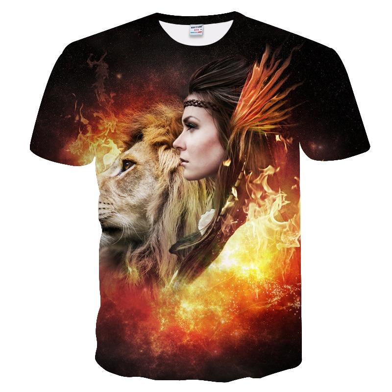 BIANYILONG 2018 New High Street Men/Women T-shirt 3d Lion Print Designed Stylish Summer T shirt Brand Tops Tees Plus Size M-5XL  5