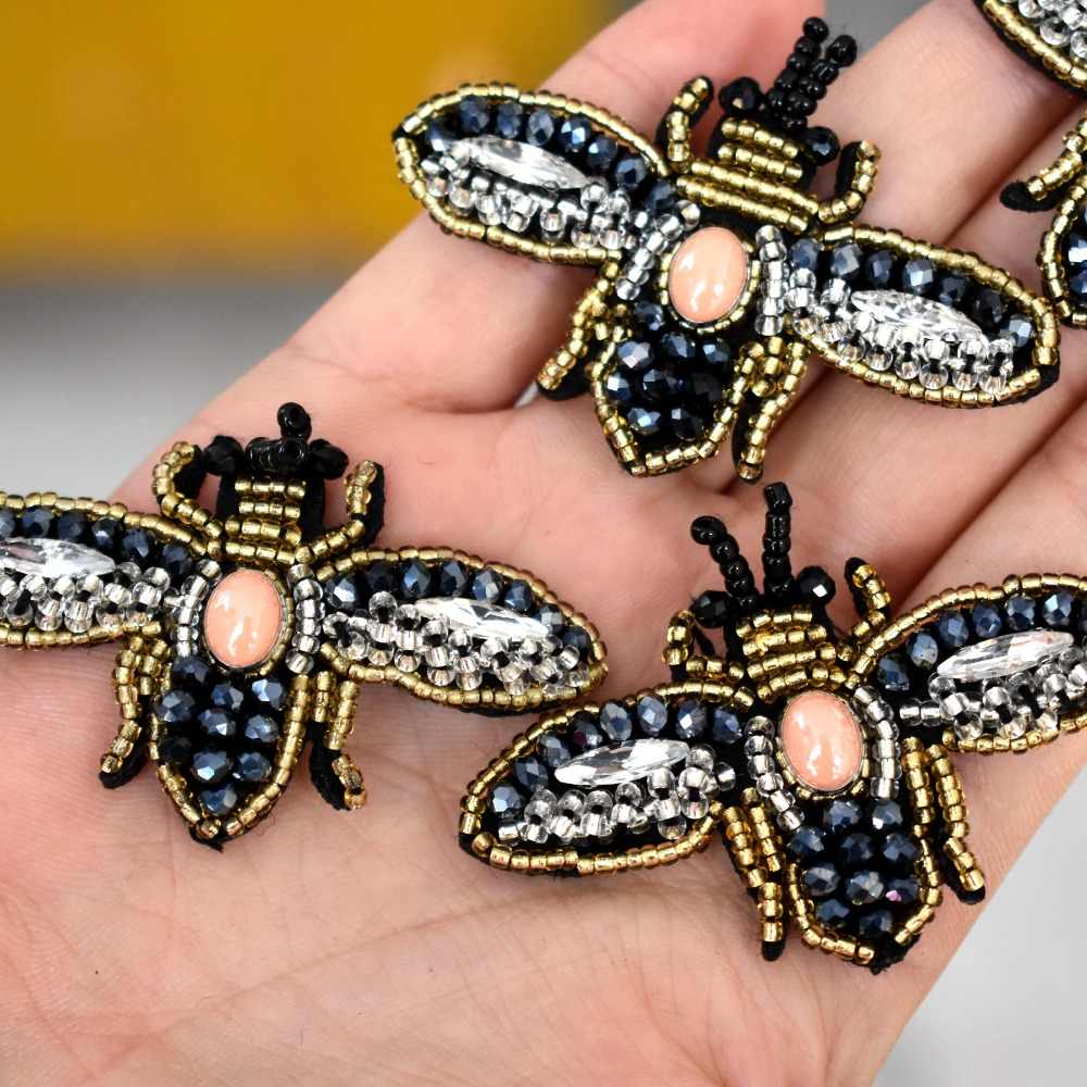 דבורים פאייטים Rhinestones חרוז סיכת תיקוני applique בציר רקום בד לתפור על תיקון אופנה בגדי קישוט תיקון