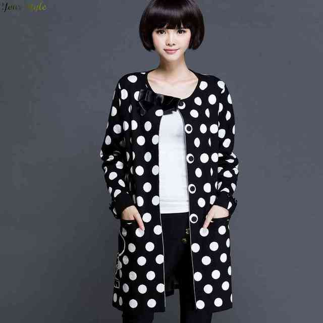 Free Shipping In 2015 New Ladies Womens Polka Dot Cardigan Long Size