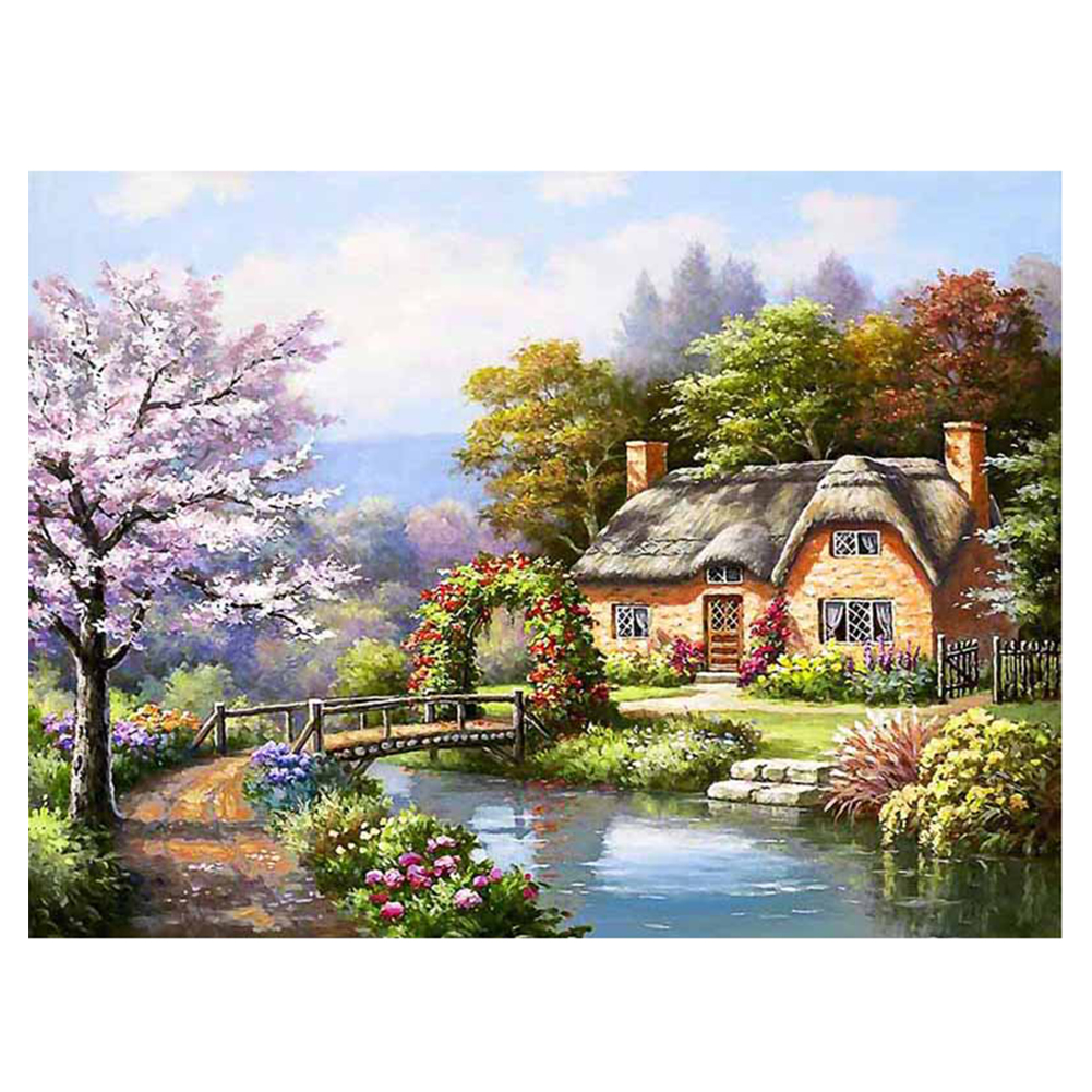 40*30 DIY 5D Diamond Embroidery New Crystals Diamond Mosaic Picture House By The River DIY Painting Kit Home Decor Craft