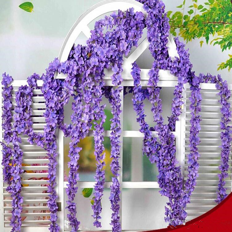 90230cm Super Long Artificial Silk Flower Hydrangea Wisteria Garland For Garden Home Wedding Decoration Supplies 6 Colors In Dried Flowers
