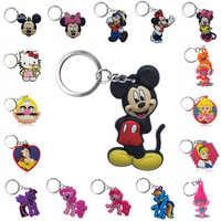 1 pièces Porte-clés PVC Dessin Animé Mickey Super Mario Trolls Porte-clés Mini Anime Porte-clés Minnie Porte-clés Charmes De Mode