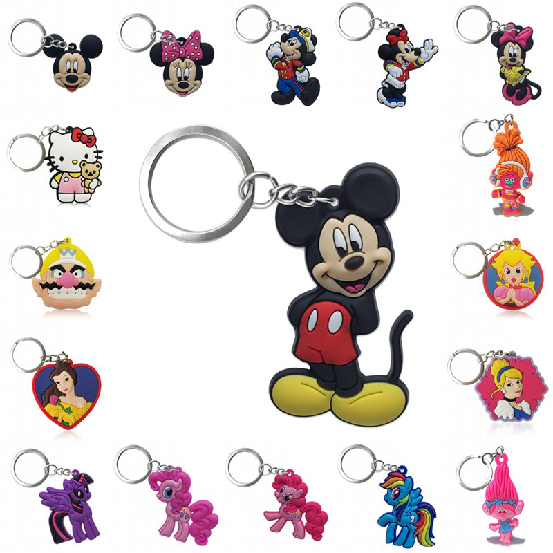 1pcs Keychain PVC Cartoon Figure Mickey Super Mario Key Chain Mini Anime Key Ring Minnie Key Holder Fashion Charms