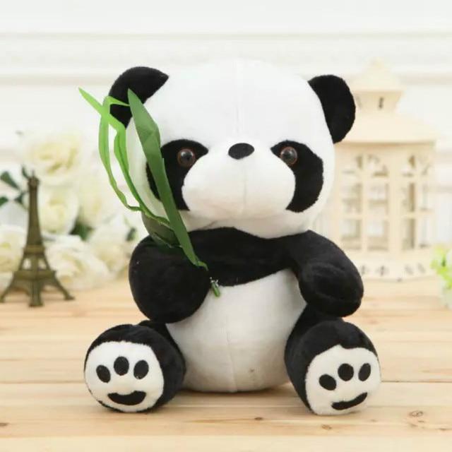 16cm Cute Lovely Mini Panda Stuffed Toy Kids Animal Toys Soft Plush Doll Bamboo Leaves Panda Dolls  Good Gift 1pc