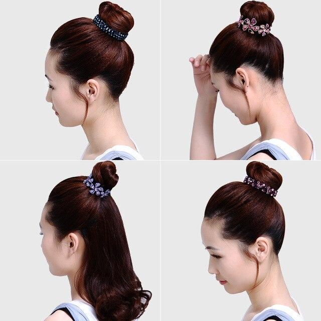 AWAYTR New Meatball Hair Accessories Women Hair Claws Headwear Rhinestone Flower Hairpin Bird Nest Floral Twist Clip 10 Colors 2