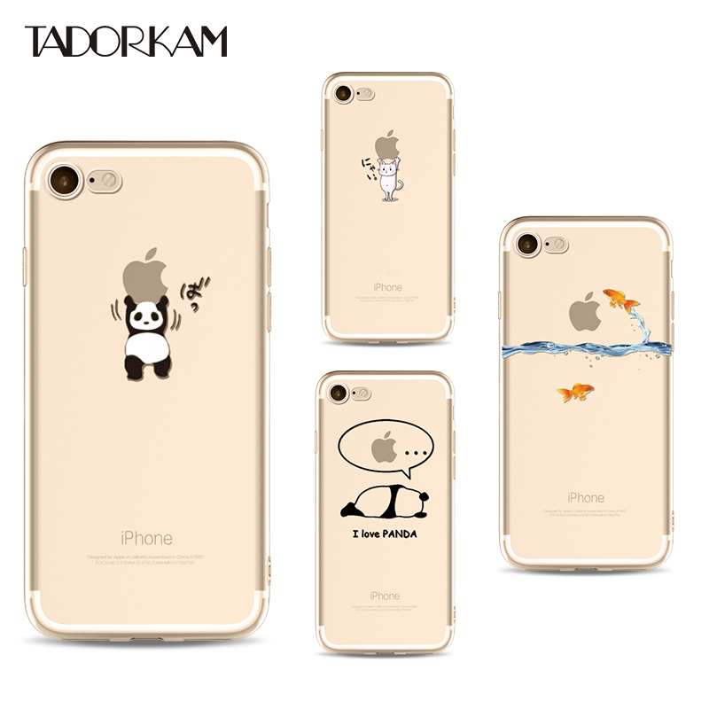 Cute Phone cases For iphone 7 8 plus Simple Clear Soft TPU Transparent Wonderful Funny Animals Phone Cover for iphone 6 6s plus
