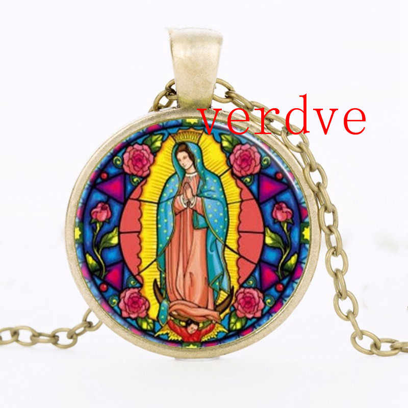Our Lady of Guadalupe Virgin Mary Sacred Heart Religious Art Pendant in Bronze or Silver with Link Chain Necklace Included