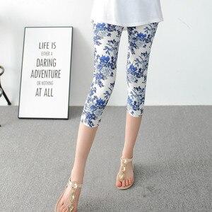 Image 2 - INITIALDREAM Leggings dété pour femmes, pantalons élastiques à taille haute, imprimés, imprimés, élastiques