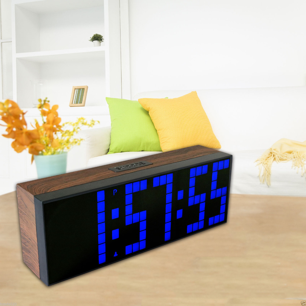 LED Digital Wall Table Alarm Clock Blue Red Yellow White Green Optional with Temperature Date Calendar