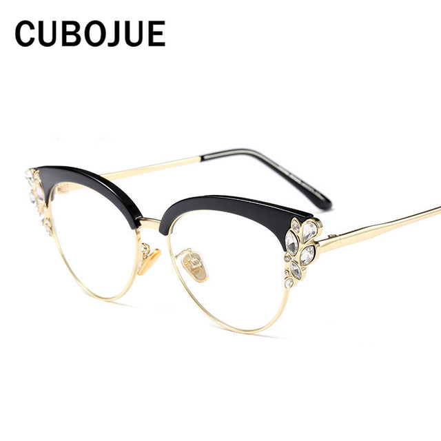 ba1aaa6eee2 Cubojue Rhinestone Eye Glasses Women Cat eye ladies Female Fashion Eyewear  Transparent eyeglasses for myopia diopter