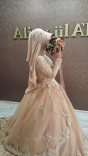 Wedding Dresses Turkey 2016 Champagne Lace Long Sleeves Muslim Wedding Dresses Ball Gowns Robe De Mariage Hijab Gowns