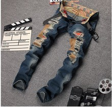 Men's Fashion Brand Designer Ripped Biker Jeans Men Distressed Moto Denim Joggers Washed Pleated Jean Pants Black Blue #696