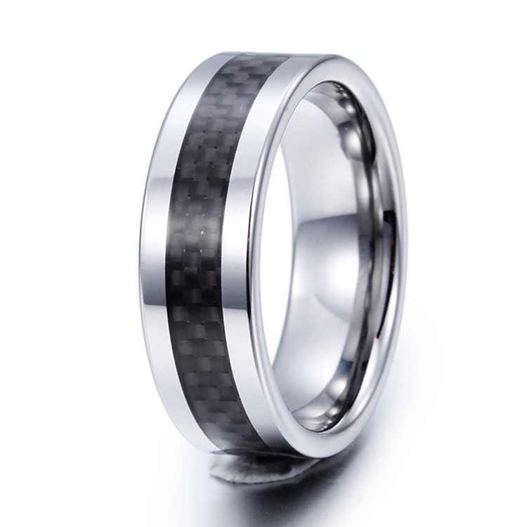 Black Carbon Fiber Inaly Tungsten Rings 8mm Width Mens Wedding Band