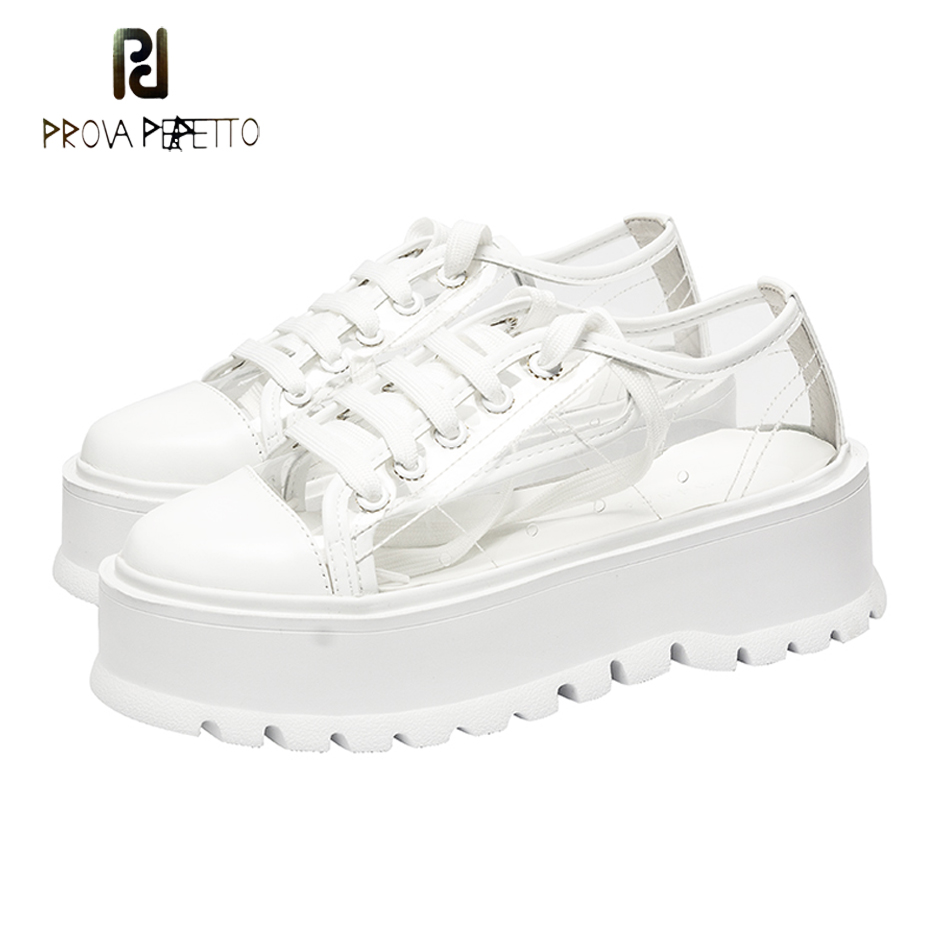 Prova Perfetto fashion women sneakers transparent flat platform for women round toe lace up casual shoes white genuine leather beffery 2018 new fashion sneakers women genuine leather lace up flat platform shoes for women fashion star casual shoes a1md701