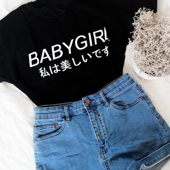 472bc69e8 BABYGIRL Japanese shirts letter printed t shirts tumblr t shirts ...