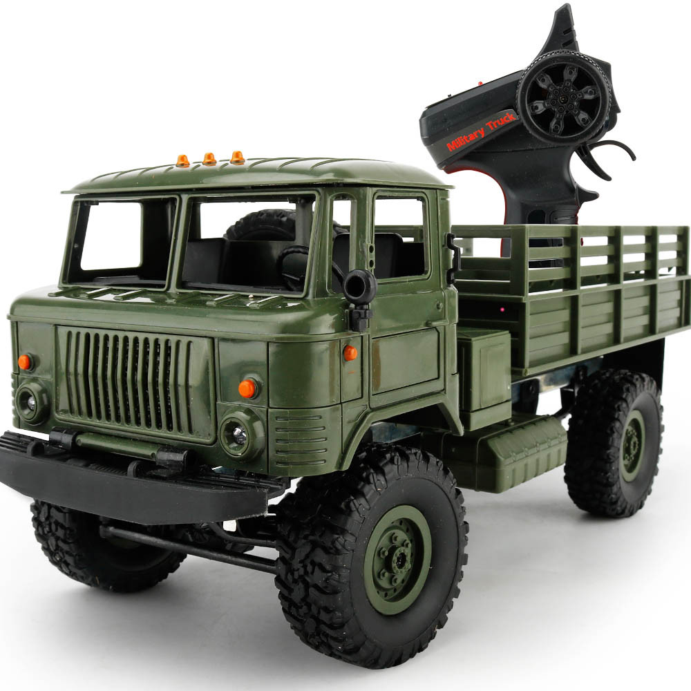 WPL B-24 2.4GHz 1/16 Toy Grade 4WD RC Military Green Truck Wireless Radio Remote Control Car High-Speed Car Anti Knock DE15b