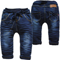 3985 0-3 AÑOS del bebé caliente del invierno niños jeans pantalones PEQUEÑO harén denim y polar bebé pantalones niños pantalones vaqueros del bebé de Doble capa gruesa