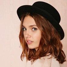 ec582ec0a3ec1 Brand New Wool Boater Flat Top Hat For Women s Felt Wide Brim Fedora Hat  Laday Prok Pie Chapeu de Feltro Bowler Gambler Top Hat