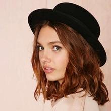 Nuevo gorro de lana con tapa plana para mujer sombrero de fieltro de ala  ancha sombrero 0c81e23b820