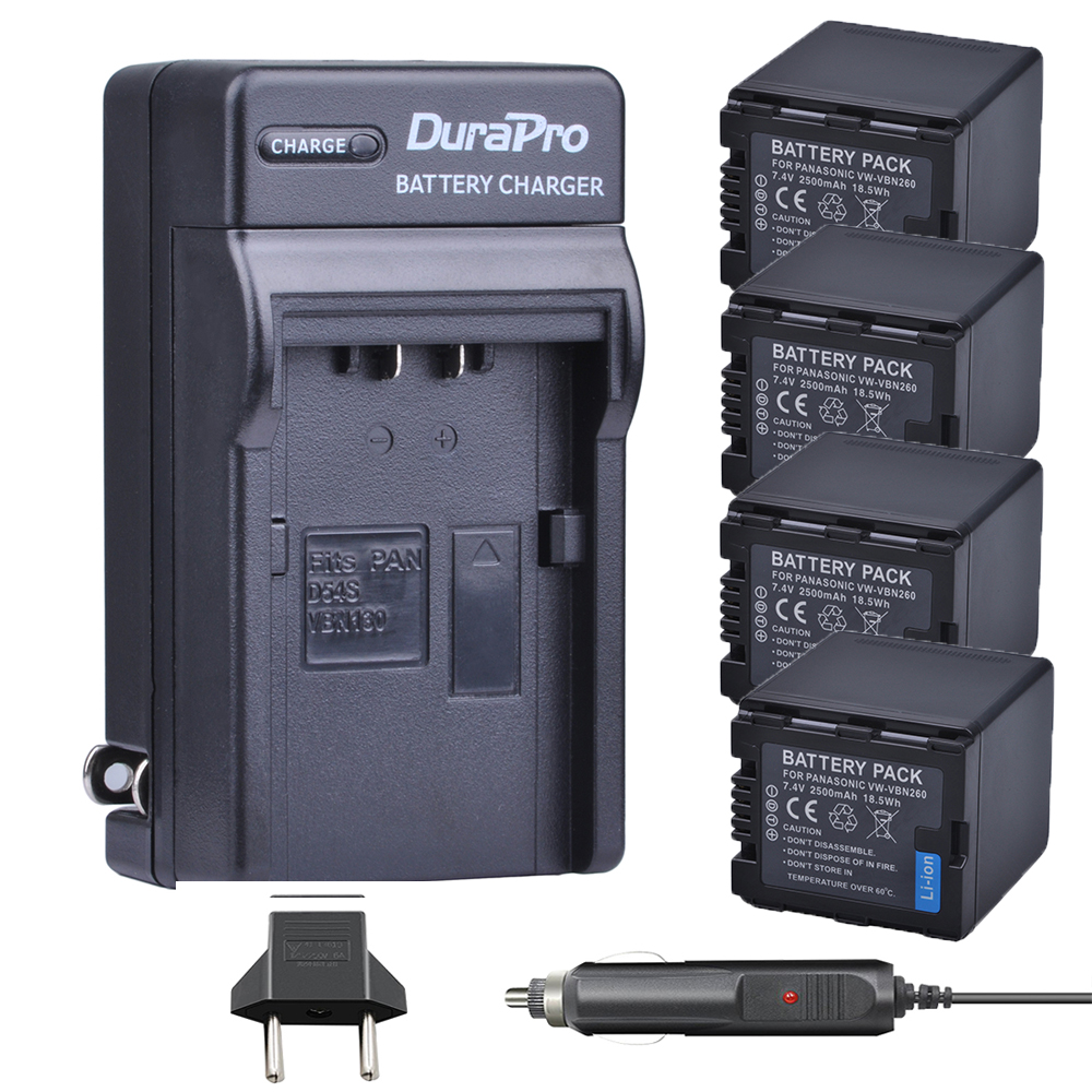 4pc VW-VBN260 VW VBN260 Li-ion Batteria + Car Charger for Panasonic HC-X800 HC-X900 HC-X900M HC-X910 HC-X920 HC-X920M HDC-HS900