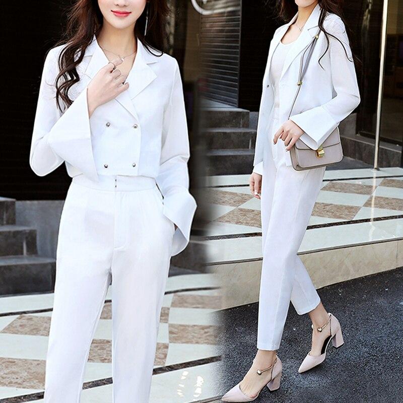 2 Piece Set Women Suit Nine Pants Suit New Fashion Casual Chic Suit Jacket Professional Pioneer Two-piece Temperament