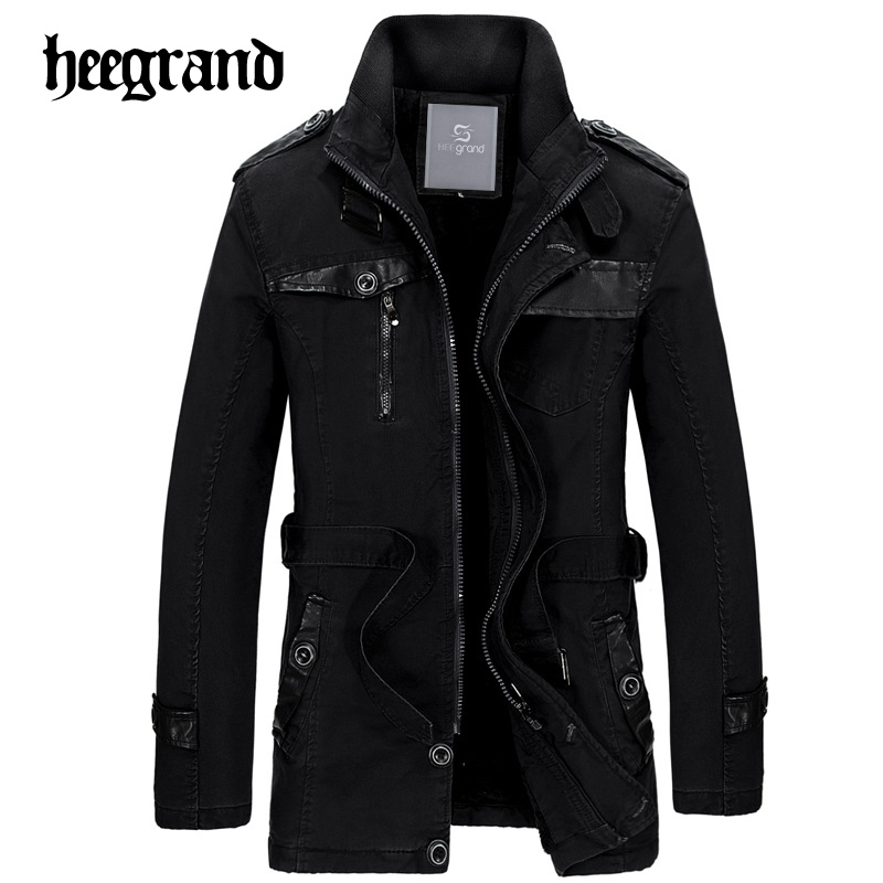 HEE GRAND 2018 New Long   Trench   Coat Men Thick Winter Coat Men British Slim Mens Overcoat Brand Clothing Male Coat   Trench   MWF304