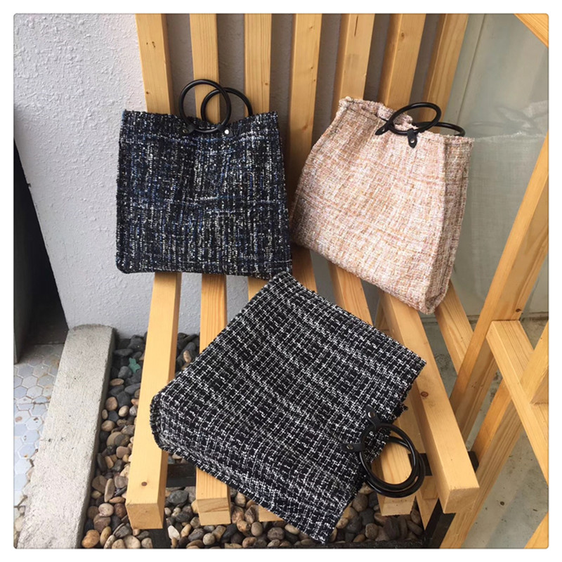 Luxury Handbags Women Bags Designer Real 2018 Winter New Simple Woolen Shoulder Bag Ms. Tote Large Capacity Portable Shopping woolen plaid stitching pu leather shoulder bag casual portable rivets tote bag pu handbags stitching woolen large capacity bag