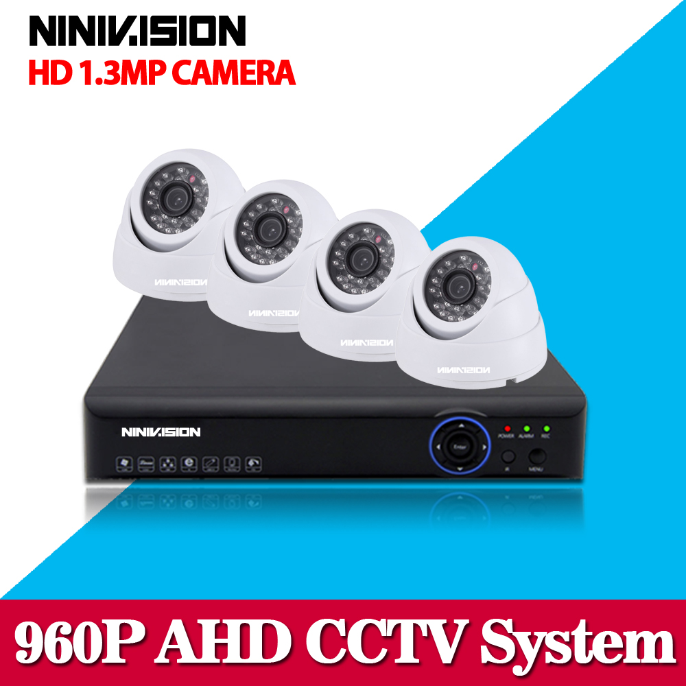 White Dome HD Camera CCTV Security 4CH 1080P AHD DVR System Kit HDMI Output Remote View 4PCS 1.3mp indoor Dome IR 35M AHD Camera