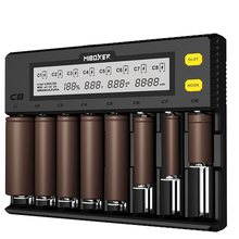 цены C8 Smart battery charger 8-slot LCD display for lithium ion LiFePO4 Ni-MH nickel cadmium AA 21700 20700 26650 18650 charger