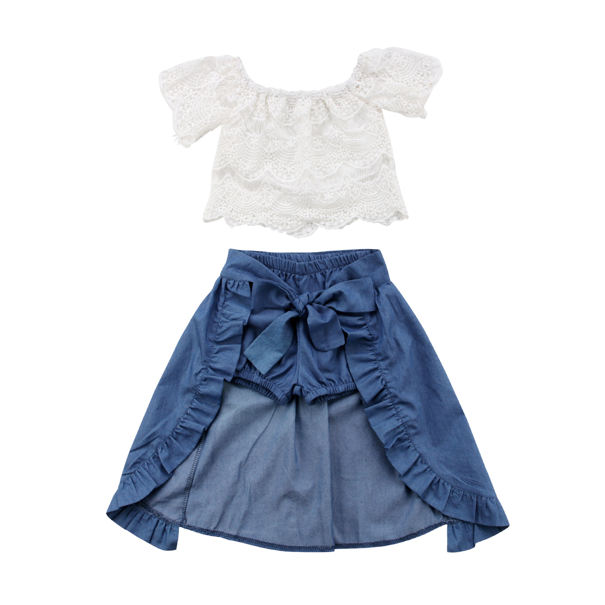 все цены на Summer Girls Kid Lace Off-shoulder T-shirt Tops Denim Shorts Dresses Clothes Outfits 3pcs Children Party Beach Clothing Set 1-6Y онлайн