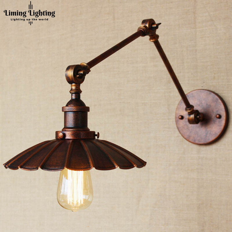 industrial Portuguese style antique rust wall lamp/swing arm wall lighting for workroom/Bathroom Vanity 2 applies arm Tornado