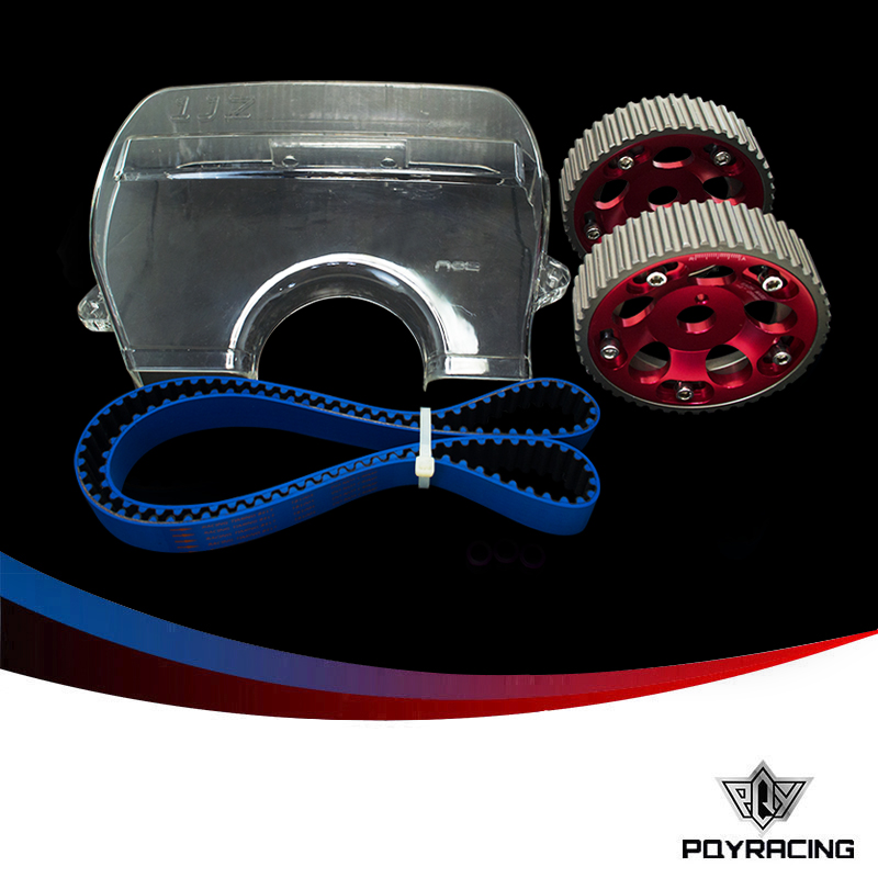 PQY RACING- HNBR Racing Timing Belt BLUE+Aluminum Cam Gear Red + Cam Cover FOR Toyota 1JZ 1JZGTE 1JZ-GTE PQY-TB1005B+6531R+6336 vr racing hnbr racing timing belt