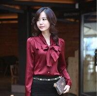 Pregnant Woman NEW Korea Women S Bowtie OL Shirt Puff Long Sleeve Vintage Shirts Tops Chiffon