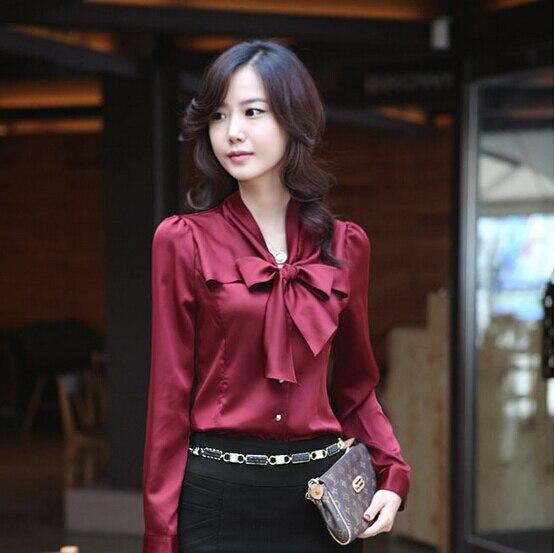 Gravid kvinna NEW Korea Kvinnors bowtie OL skjorta puff Långärmade vintage skjortor Toppar chiffon bluse 2 färger Ny gratis frakt
