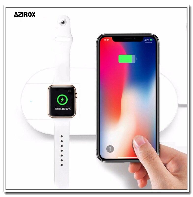 Chargeur sans fil AZIROX Qi charge rapide pour Apple Watch 3 ForiWatch iPhone X 8 plus 2 en 1 adaptateur de téléphone USB sans fil rapide