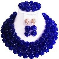 Лучшие продажи хорошее качество Королевский кристалл синего цвета африканские вечерние и повседневные женские бусы ожерелье серьги набор