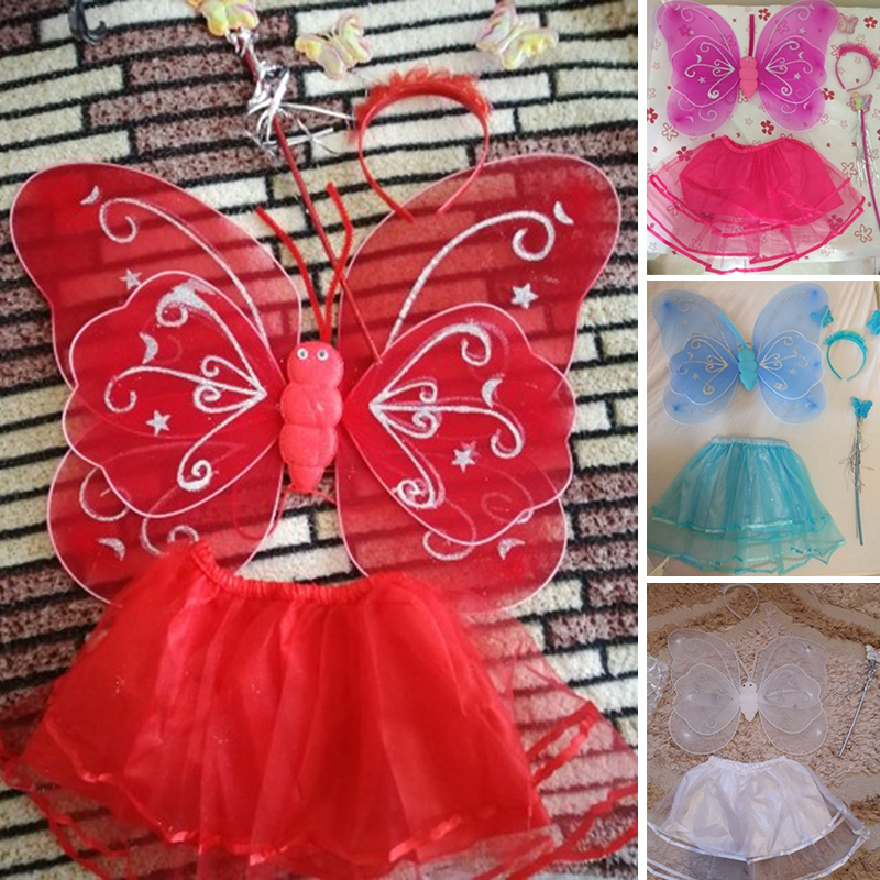 Halloween Gift 4Pcs Butterfly wing +Wand +Headband +Tutu Skirt costumes sets for kids girls Butterfly cosplay party fancy dress