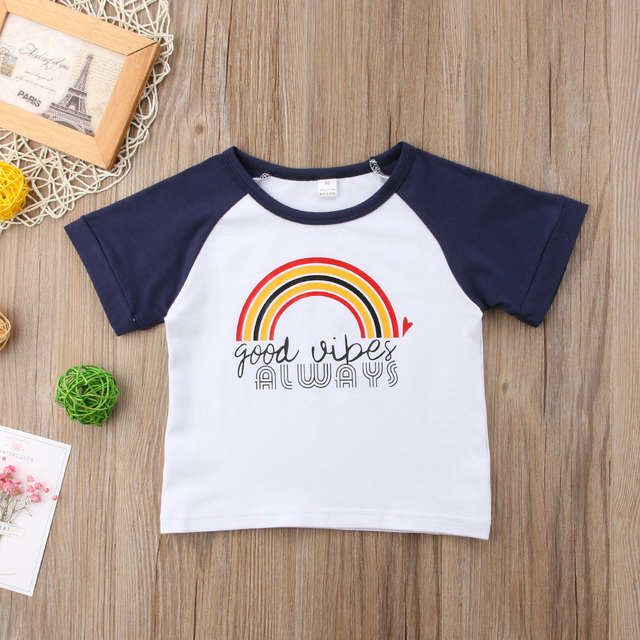 a6d9c74b Toddler Newborn Baby Girl Boy Rainbow Short Sleeve Tops Tee Shirt Cotton  Clothes Fashion Casual Comfortable O-neck Clothing