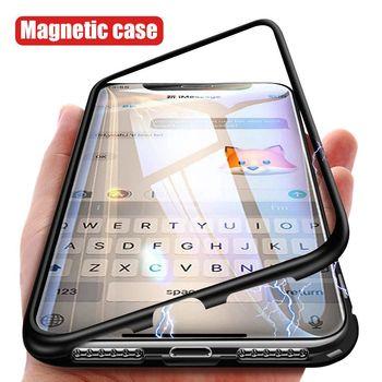 Магнитный металлический чехол для iPhone 7 8 6 6 S Plus смешанный с алюминием бампер прозрачный закаленное стекло задняя крышка для iPhone XS Max XR XS X