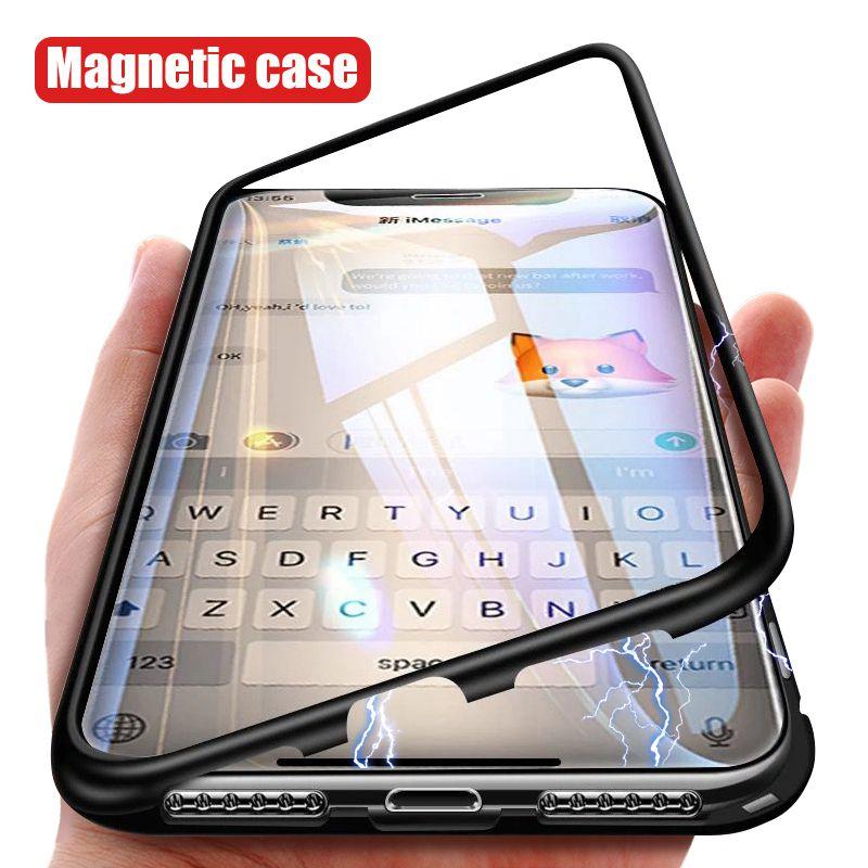 Caixa De Metal magnético Para iPhone 7 8 6 6 s Além De Alumínio Híbrido Bumper Limpar Vidro Temperado Tampa Traseira Para iPhone XS Max XR XS X