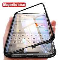 Magnetische Metall Fall Für iPhone 11 Pro Max 11 Pro 11 Hybrid Bumper Klar Glas Zurück Fall Für iPhone XS max XR XS X 7 8 6 6S Plus